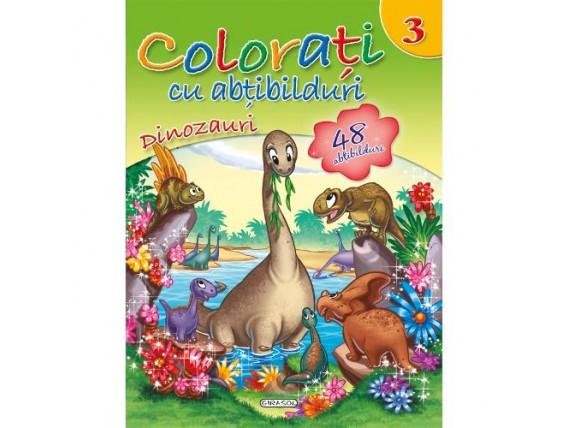 Colorati cu Abtibilduri  Nr.3 - Dinozauri