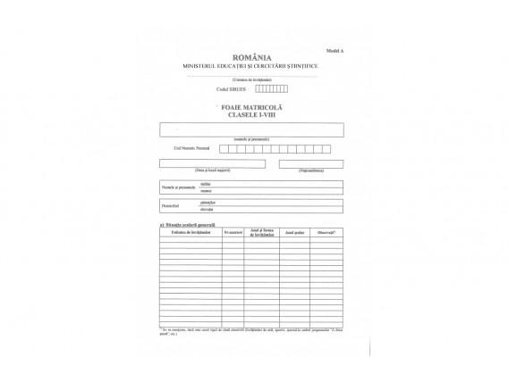 Foaie matricolă  cls. I-VIII, Tip A – înv. de stat