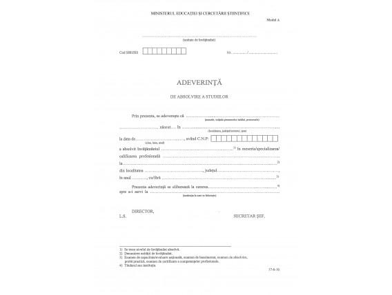 Adeverinţă absolvire a studiilor tip A – înv. de stat