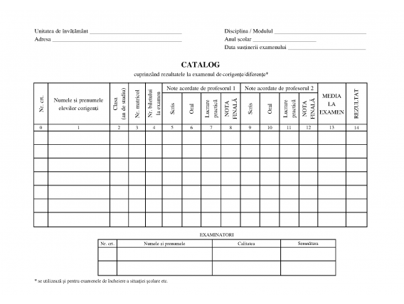 Catalog examen corigenţe/diferenţe