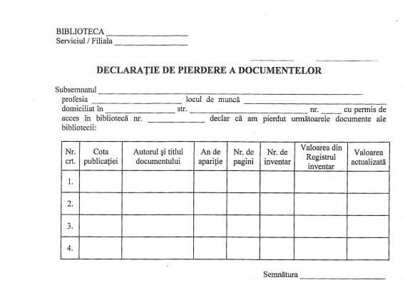 Declaraţie de pierdere a documentelor