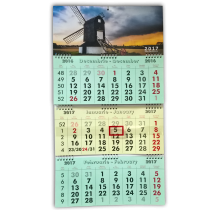 Calendar de perete triptic pliabil cu spirala 2019